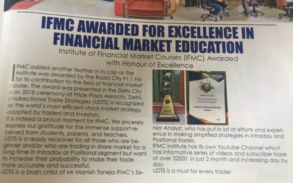 IFMC Awarded For Excellence in Financial Market Education