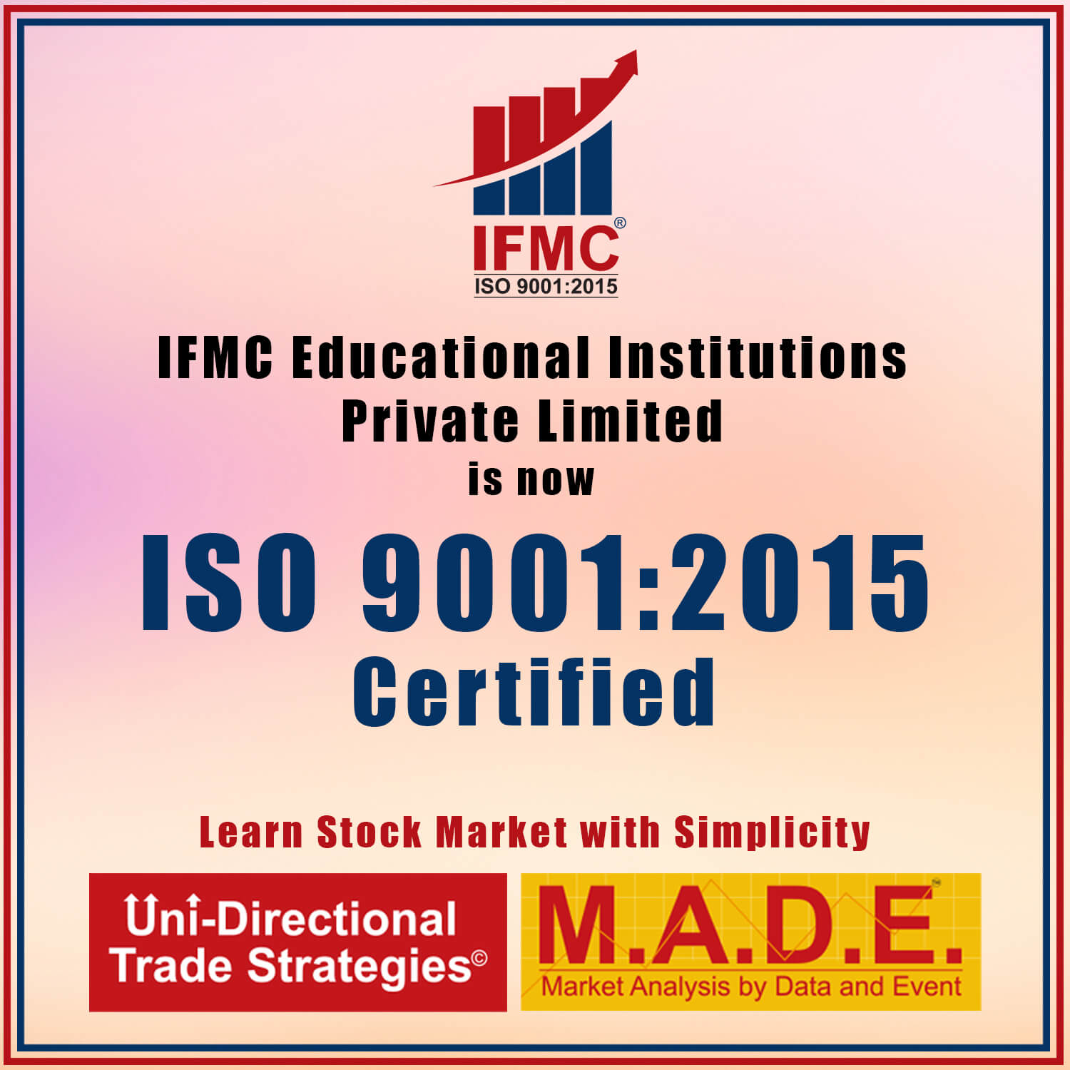 IFMC Educational Institutions Private Limited ISO 9001 - 2015 Certified